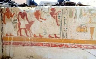 "A handout picture released by Egypt""s Antiquities Ministry on May 8, 2018, shows a fresco found in the ancient tomb of an army general named Iwrhya, discovered by archeologists in Saqqara, 25 kilometres south of the Egyptian capital Cairo. According to the ministry, Iwrhya""s career started during the reign of pharaoh Seti I, and continued into the reign of pharaoh Ramesses II."