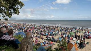 The airshow attracted big crowds on Saturday