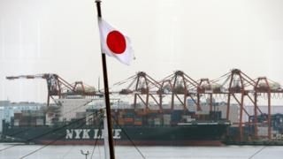 A Nippon Yusen cargo ship in Tokyo, 2014