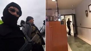 A composite image taken from a Facebook live video: left, showing a balaclava-clad man holding a rifle, in tactical vest, with another man wearing body armour and holding a camera nearby. Right, a police station interior, showing one officer in a doorway with a weapon drawn