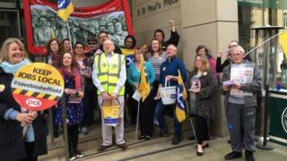 Picket line outside BIS office in Sheffield