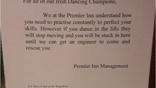 Premier Inn lift sign