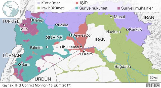 Suriye ve Irak haritası