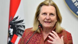 Austrian Foreign Minister Karin Kneissl addresses the media on 22 February
