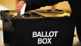 A ballot box at a local election