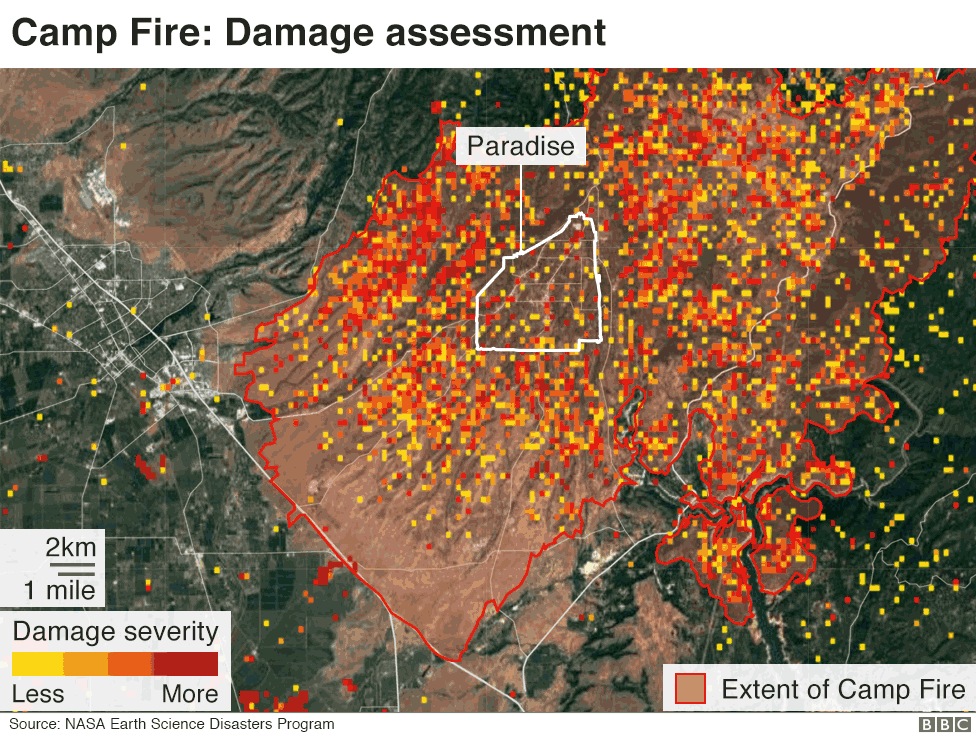 Map showing extent of damage in Paradise and surrounding area
