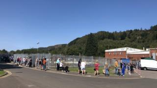 Queue at Abercynon mobile testing centre