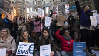 Protests outside the Department of Health's offices in London