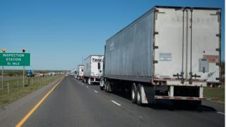 Trucks queuing near the US-Mexico border in Laredo