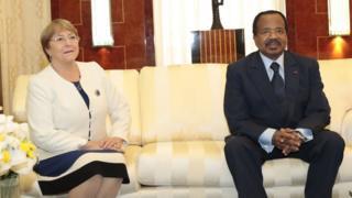 President Paul Biya (left), UN Human Rights oga, Michelle Bachelet (right)