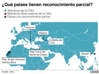 Mapa países con reconocimiento parcial