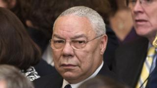 Former Secretary of State Colin Powell is seen in the East Room of the White House in Washington.