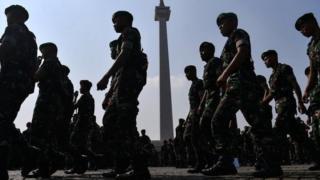 TNI dalam apel keamanan di Jakarta.