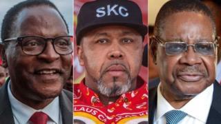 Rais Peter Mutharika (kulia) inakabiliwa na upinzani kutoka kwa Lazarus Chakwera (kushoto) na Saulos Chilima (kati)