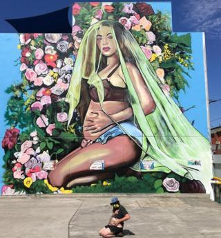 Mark Walls and his Beyonce mural in Melbourne, Australia