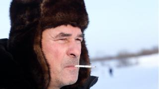 Russian man smoking