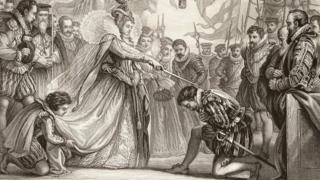 Queen Elizabeth I knighting Sir Francis Drake on board the Golden Hind at Deptford in London on 4 April 1581.