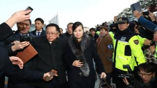 Hyon Song-wol, head of the North Korea's Samjiyon Orchestra, arrive at the Gangneung Art Centre to check the venues for its proposed art performances at Pyeongchang 2018 Winter Olympics on 21 January 2018 in Gangneung, South Korea
