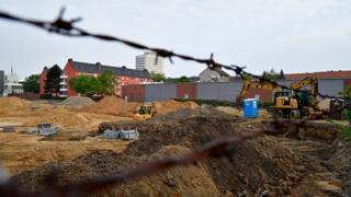 Le site du chantier d'un immeuble où les bombes ont été découvertes