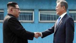 Kim Jong-un ati Moon Jea-in