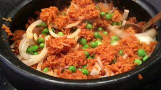 Jollof rice inside plate
