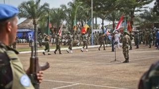 UN peace keeping troops take part in a ceremony in Bangui, capital of the Central African Republic (September 2014)