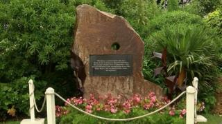 The stone memorial for the Jersey Contingent