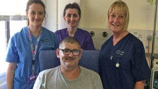 Darren Tobin with nursing staff