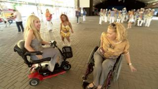 Vivi (middle) and Elizabeth (right) showing me some moves in rehearsals for the Paralympic One Year to Go celebrations