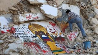 جرافيتي في سوريا ضد روسيا