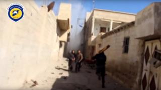 Video published by the Syrian Civil Defence showing emergency worker Mohammed Walid al-Ghorani rushing towards scene of air strike in Deir al-Asafir, shortly before his death (31 March 2016)