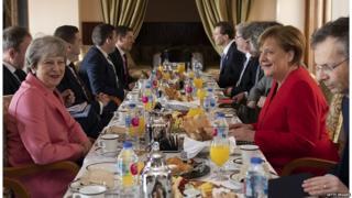 Theresa May, Angela Merkel and other leaders at EU-Arab League summit