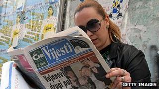 Newspaper reader in Montenegro