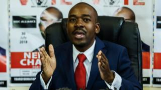 Zimbabwe's Movement for Democratic Change (MDC) party leader Nelson Chamisa holds a press conference at the MDC headquarters in Harare, on July 17, 2018,