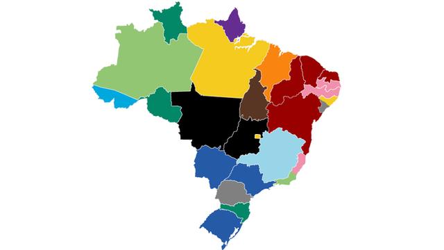 Mapa representando, em cores, quantos partidos governarão os Estados brasileiros a partir de 2019