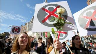 A picture of a protest poster at a pro-choice march in Ireland