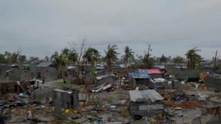 An image shows destruction caused by Cyclone Idai in the port city of Beira