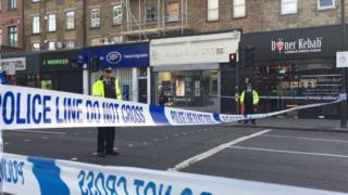 Police at scene of the Camden stabbings