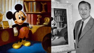 John Hench alongside an official portrait he painted of Mickey Mouse.