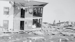 Destroyed buildings at Myrtle Beach, South Carolina after Hurricane Hazel hit in October 1954.