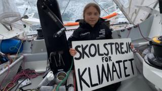 greta-thunberg-on-boat-holding-sign