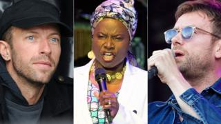 L-R: Chris Martin, Angelique Kidjo and Damon Albarn