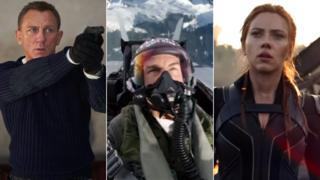 Daniel Craig in No Time To Die, Tom Cruise in Top Gun: Maverick and Scarlett Johansson in Black Widow