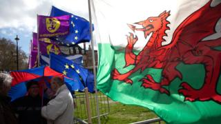 EU, UKIP flags alongside a Red Dragon flag outside the Houses of Parliament