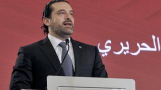 Saad al-Hariri speaks in Beirut, Lebanon, 3 November 2017
