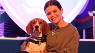 Blue Peter presenter Lindsey Russell with beagle-basset hound cross Henry