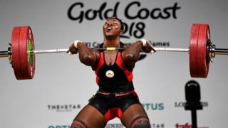 Clementine Meukeugni Noumbissi in the women's 90kg weightlifting final at the 2018 Gold Coast Commonwealth Games on April 9, 2018.