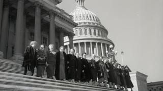 All of the 17 ladies serving in the 84th congress posed for this photo on the house steps of the Capitol in 1955