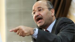 2008 file image of Barham Salih in his office in the Iraqi capital, Baghdad