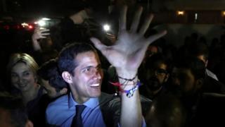 Juan Guaidó acknowledges a crowd in Caracas, Venezuela. Photo: 2 April 2019